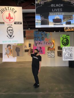Curator Peggy Sivert, Protest in Place, SoLA; Image courtesy of the gallery