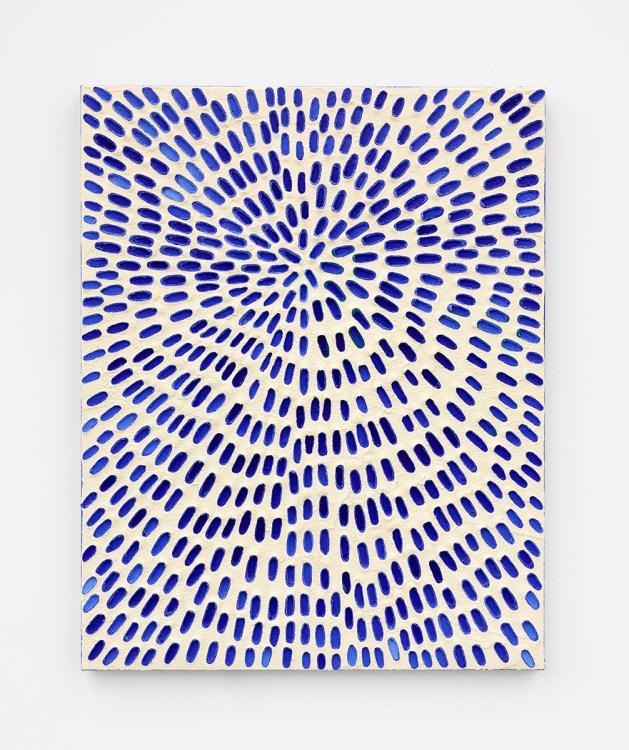 Jennifer Guidi, Where the Sea and Sky Meet (Painted White Sand SF #2B, Blue and Light Blue Fill), The Beatitudes of Malibu, David Kordansky Gallery; Photo credit Marten Elder Courtesy of David Kordansky Gallery