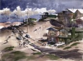 Art Riley, Playa del Rey, 1960s. Watercolor on paper, 22 x 30 inches. Collection of Ken and Jan Kaplan. In the Land of Sunshine: Imaging the California Coast Culture, September 25, 2016-February 19, 2017, Pasadena Museum of California Art.