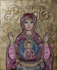 """Plastic Religion"" at La Luz De Jesus ""Barbie Byzantine Icon"" Photo Courtesy of La Luz De Jesus"
