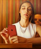 Alex Gross, Mirror (After Tooker), Corey Helford Gallery Photo credit- JulieFaith ©2017, All rights reserved.