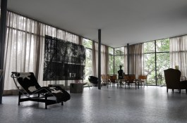 Palm Springs Art Museum. Living Architecture: Lina Bo Bardi and Albert Frey. Interior of Glass House (Casa de Vidro) by Lina Bo Bardi, with Veronika Kellndorfer, transparent silkscreen print on glass, installation view, 2014, Courtesy of Christopher Grimes Gallery.
