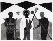 Belkis Ayón, La consagración II (The Consecration II), 1991 Collograph. Nkame: A Retrospective of Cuban Printmaker Belkis Ayón Fowler Museum at UCLA, Photo Courtesy of the Fowler Museum.