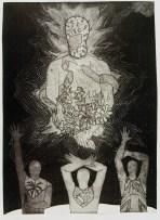 Belkis Ayón, Siempre vuelvo (I Always Return), 1993 Collograph. Nkame: A Retrospective of Cuban Printmaker Belkis Ayón Fowler Museum at UCLA, Photo Courtesy of the Fowler Museum.