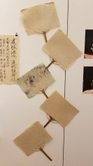 Seisui Yukiko. Uchiwa (paper fans). Handmade Japanese paper & ink. Parallels: Medicine = Art. Crafton Hills College Art: Eyes on Healing. Crafton Hills College Art Gallery. Photo Credit Jacqueline Bell Johnson.