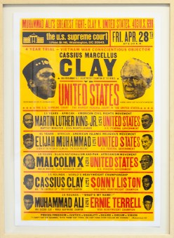 ICONIC: Black Panther. Gregorio Escalante Gallery, Los Angeles, CA. Kevin Bradley Clay vs United States 2016 Letterpress print. Photo Courtesy of Sepia Collective and The Artist.