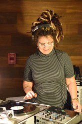 Susan Feldman Tucker DJ'd opening night. Personal Narrative. Annenberg Community Beach House Gallery. Photo Credit Kristine Schomaker.