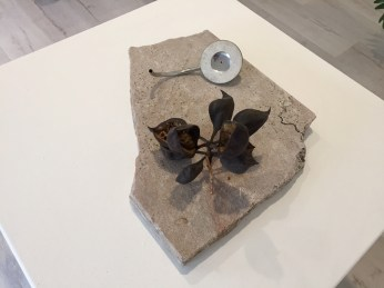 Summoning of the Muse. Stainless steel, clay, sand, marble, seed capsule. 2017. Ohlsson/Dit-Cilinn: HYDROGENESIS. HILDE L.A., Mid-City. Photo Credit Shana Nys Dambrot.