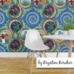 Art Nouveau seasons vignettes with spirals wallpaper