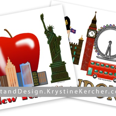 """New York City and London artwork: I found my artwork - and posted it for sale in my """"Famous Cities"""" collection on Spoonflower. Click through to purchase."""