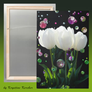 White tulips bubbles metal print--created from my imperfect photo.