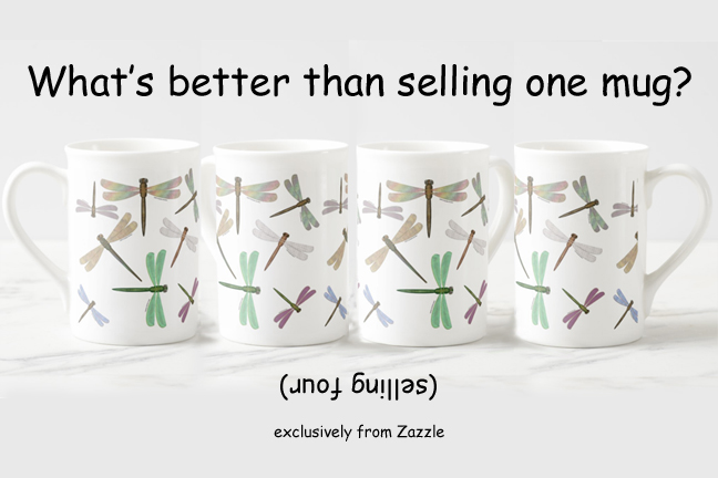 four dragonflies bone china mugs