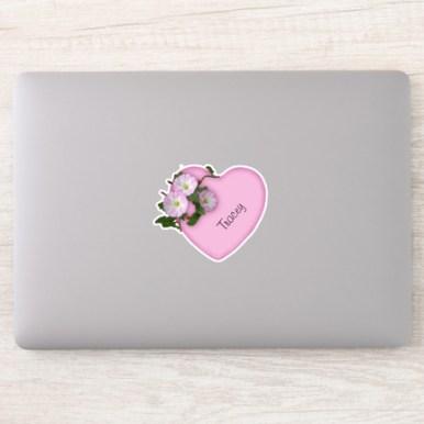 Morning Glories Pink Heart Monogrammed Sticker
