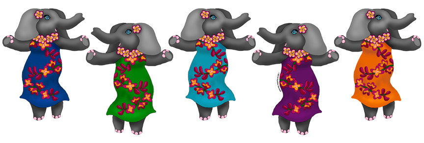 Shop for cute hula elephants fabric and craft supplies on Zazzle