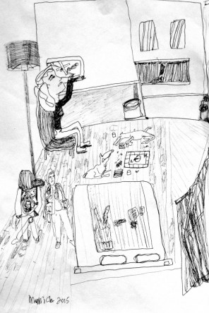 This is my hotel room in Germany I'm supposed to be resting, picture on bed but secretly I'm drawing. 2 dogs bored games, 2 ladies ?