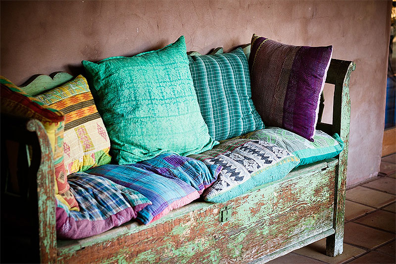 Rustic Bench with Pillows