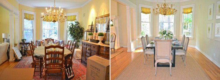 Home Staging Before After Dining Room