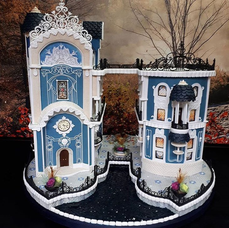 Blue Victorian Gingerbread House