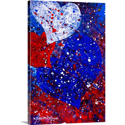 Heartfelt Red, White, and Blue by Marion Rose Art Print on Canvas