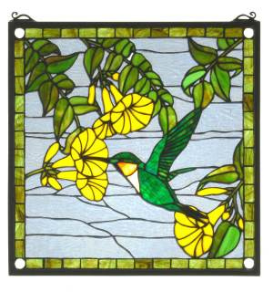 "Hummingbird | Tiffany Glass Window Panel | 17"" X 17"""