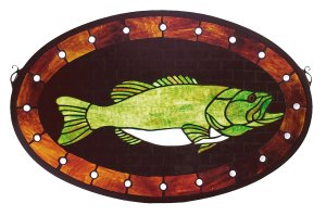 "Bass Plaque | Stained Glass Window Hanging | 22"" W X 14"" H"