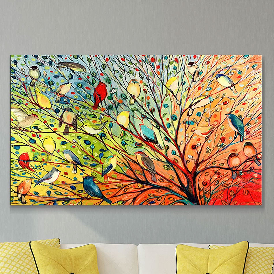'27 Birds' Painting Print on Wrapped Canvas
