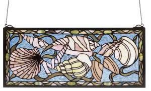 "Seashell | Tiffany Glass Window Hanging | 24"" X 10"""