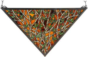 "Bamboo | Tiffany Stained Glass Window | 21.5"" X 12"""