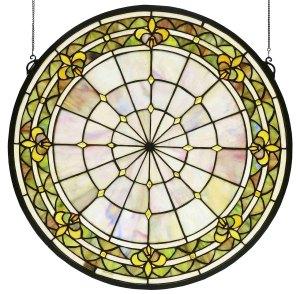 "Fleur-De-Lis | Stained Glass Window | 21"" H X 21"" W"