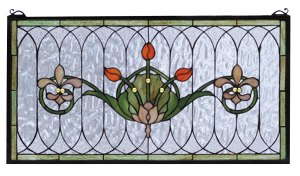 "Tulip & Fleurs | Stained Glass Panel | 26"" W X 14"" H"