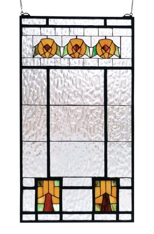 "Aurora Dogwood | Stained Glass Panel | 18"" W X 32"" H"