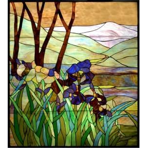"Iris | Tiffany Glass Panel | 36"" X 42"""