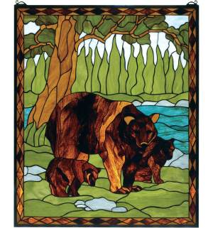 "Brown Bear | Tiffany Art Glass Window | 25"" X 30"""