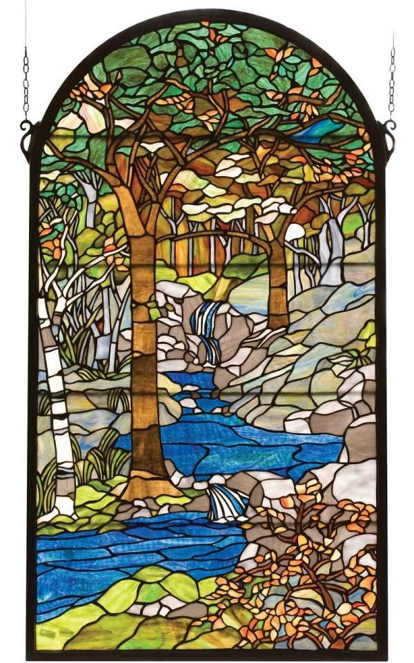 "Tiffany Waterbrooks   Art Glass Window Panel   40"" X 22"""