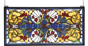 "Sonja Transom | Tiffany Glass Window Panel | 29"" X 14"""
