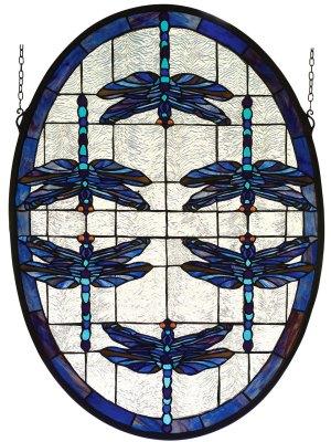 "Dragonflies Oval   Stained Glass Window   22"" W X 30"" H"