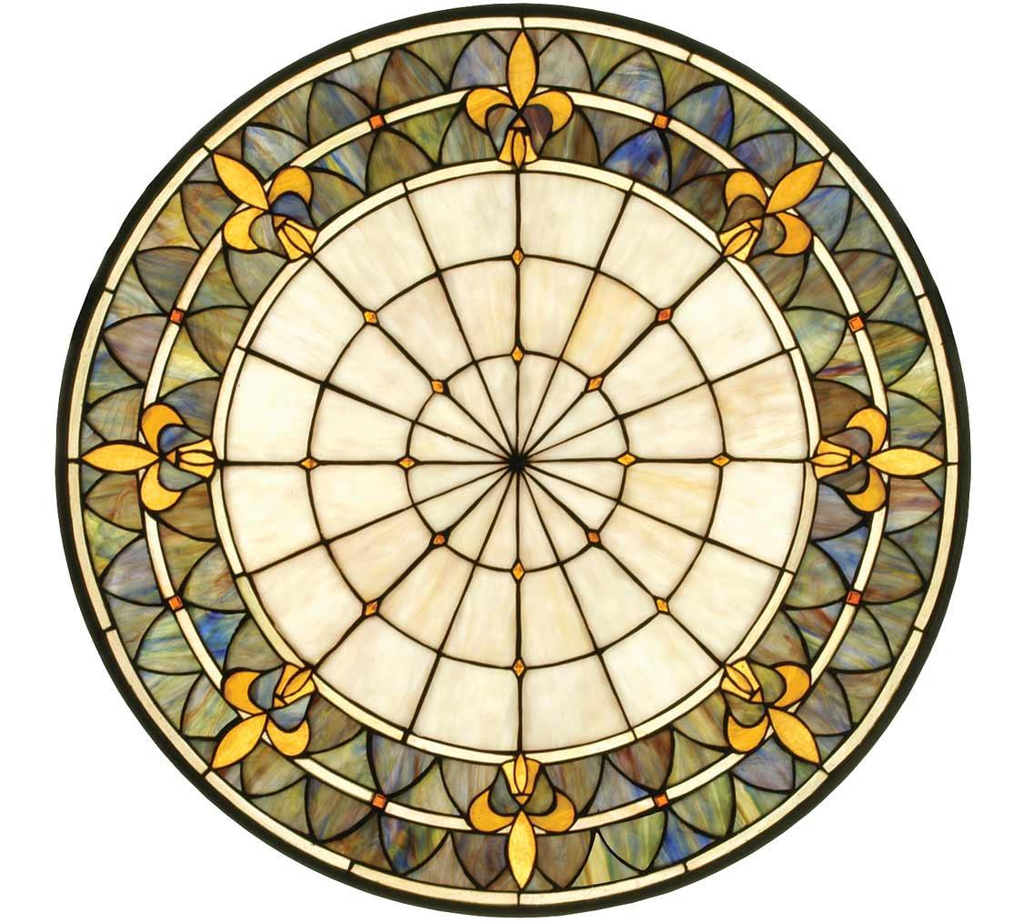 "Fleur-de-lis | Art Glass Window Hanging | 30"" X 30"""