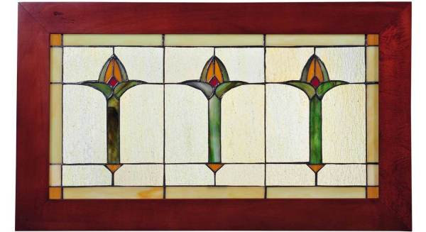 "Arts & Crafts Bud Trio | Art Glass Window | 24"" X 14"""
