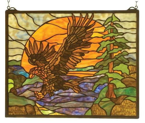 Eagle Decor Gifts: Eagle At Sunset | Stained Glass Window Hanging | 20″ W X 16″ H