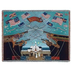 Dockside Marriage by Charles Wysocki   Throw Blanket   70 x 54