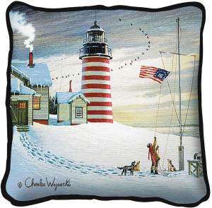 West Quoddy Lighthouse by Charles Wysocki | Throw Pillow | 17 x 17