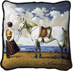 Sea Captains Wife by Charles Wysocki | Throw Pillow | 17 x 17