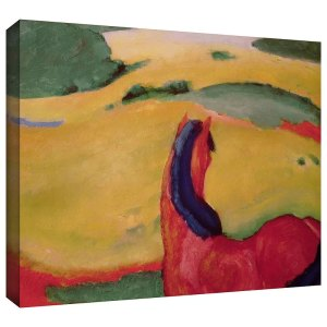 Horse in a Landscape by Franz Marc Art Print on Canvas