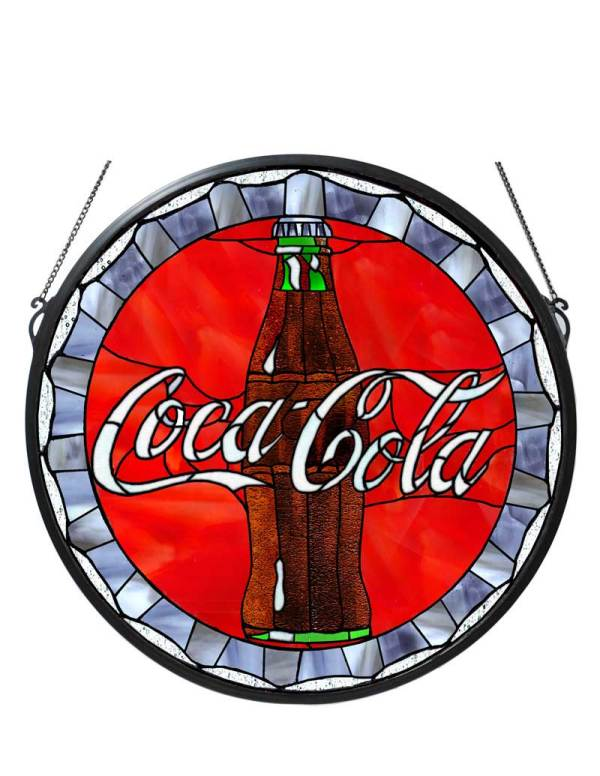 """21"""" W X 21"""" H Coca-Cola Bottle Cap Medallion Stained Glass Window"""