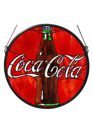 "21"" W X 21"" H Coca-Cola Button Medallion Stained Glass Window"