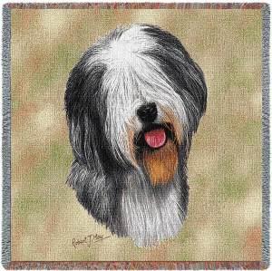 Old English Sheepdog Breed Portrait | Throw Blanket | 54 x 54