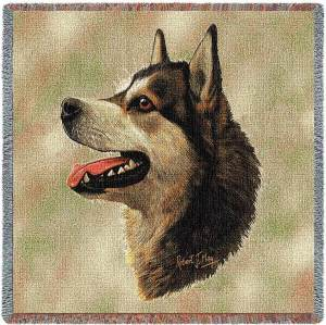 "Alaskan Malamute Breed Portrait | Throw Blanket | 54"" x 54"""