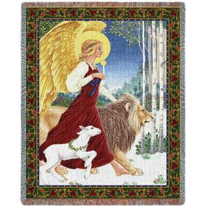 Angel and Lamb | Christmas Throw Blanket | 70 x 54