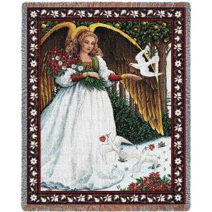 Angel with Doves | Christmas Tapestry Blanket | 70 x 54