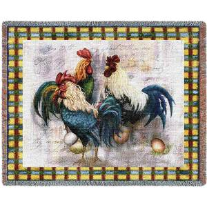 Rooster Trio | Afghan Blanket